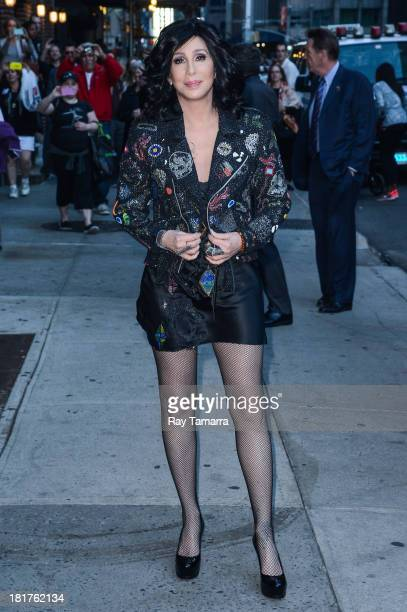 Actress and singer Cher leaves the 'Late Show With David Letterman' taping at the Ed Sullivan Theater on September 24 2013 in New York City