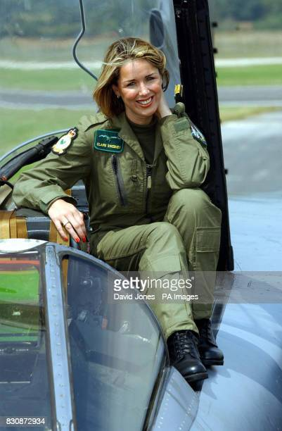 Actress and singer Claire Sweeney sits on a Tornado GR4 of No IX squadron from RAF Marham in Norfolk after flying to RAF Fairford in Gloucester to...