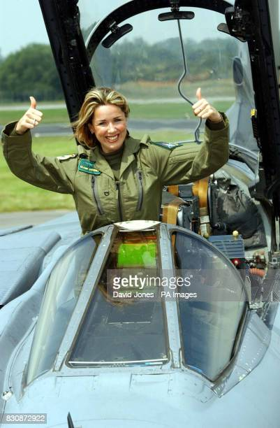 Actress and singer Claire Sweeney stands in a Tornado GR4 of No IX squadron from RAF Marham in Norfolk after flying to RAF Fairford in Gloucester to...