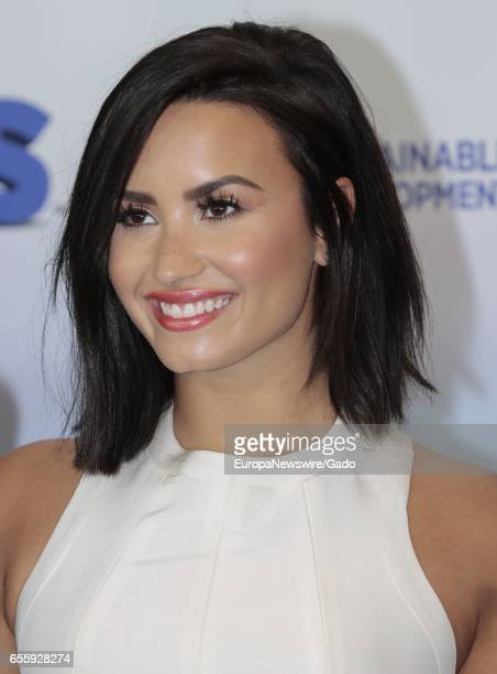 Actress and singer Demi Lovato along with the Smurfs visit the UN Headquarters in New York to Celebrate the International Day Of Happiness New York...