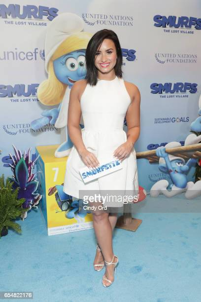 Actress and singer Demi Lovato at the United Nations Headquarters celebrating International Day of Happiness in conjunction with SMURFS THE LOST...
