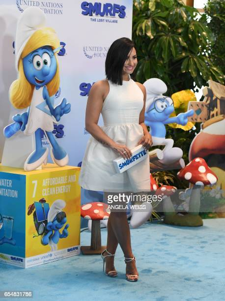 Actress and singer Demi Lovato attends International Day of Happiness in conjunction with SMURFS THE LOST VILLAGE at the United Nations Headquarters...