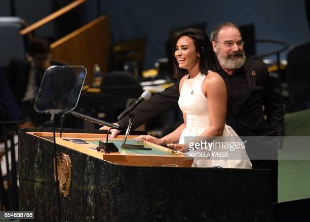 Actress and singer Demi Lovato speaks at International Day of Happiness in conjunction with SMURFS THE LOST VILLAGE at the United Nations...