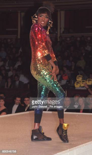 Actress and singer Grace Jones modelling an outfit by Rifat Ozbek at the British Fashion Awards at the Albert Hall