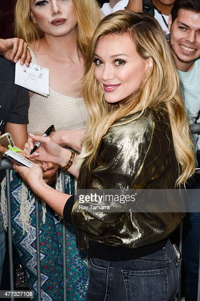 Actress and singer Hilary Duff leaves the 'Good Morning America' taping at the ABC Times Square Studios on June 16 2015 in New York City