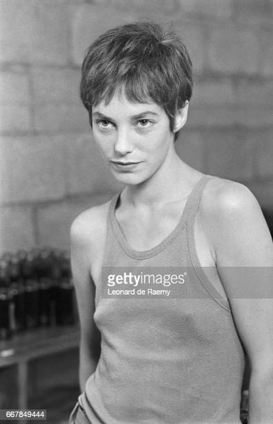 Actress and singer Jane Birkin on the set of the 1976 French film Je T'Aime Moi Non Plus directed by her husband Serge Gainsbourg