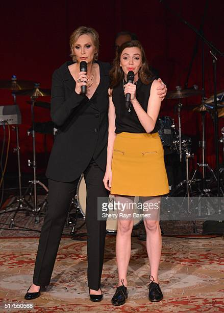 Actress and singer Jane Lynch performs her show 'See Jane Sing' at Largo at the Coronet with her niece Ellen Doyle on March 23 2016 in Los Angeles...