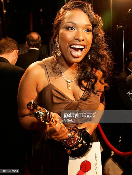Actress and singer Jennifer HUdson is photographed backstage at the Academy Awards for the Los Angeles Times after just receiving her Oscar for Best...