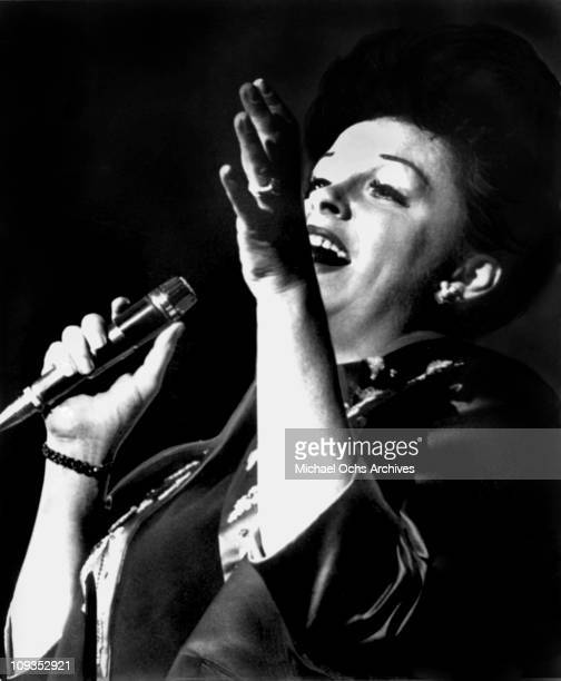 Actress and singer Judy Garland performs live at Carnegie Hall on April 23 1961 in New York City New York
