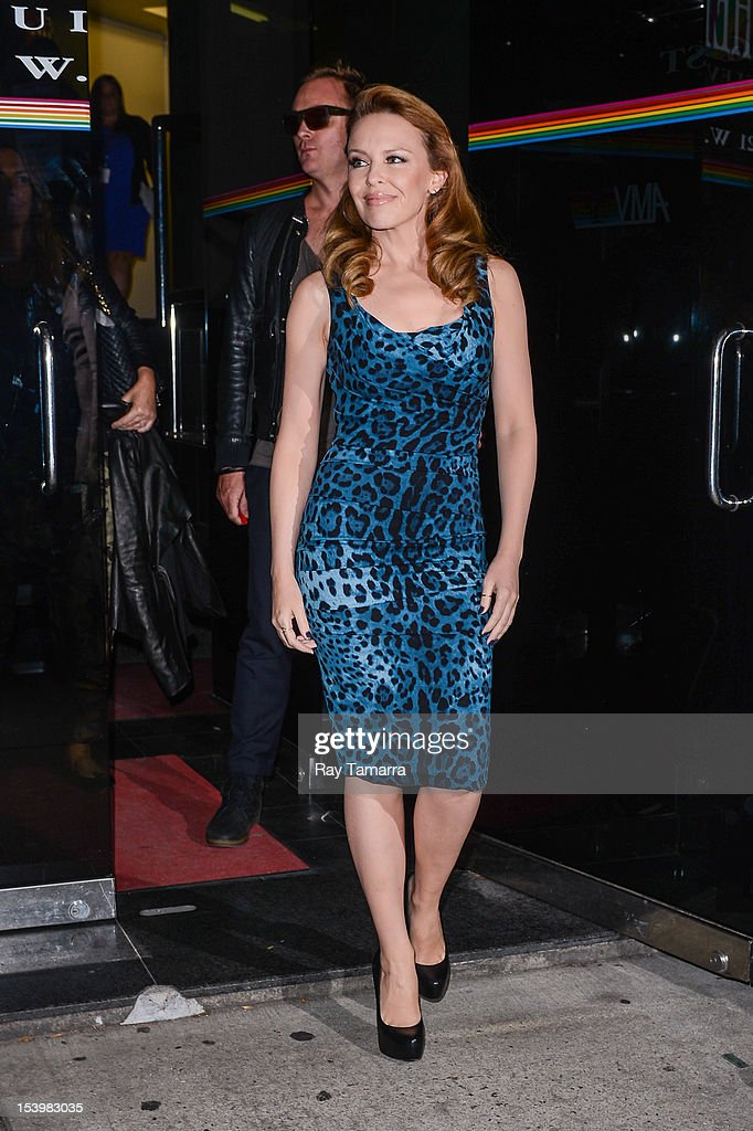 Actress and singer Kylie Minogue leaves the 'Wendy Williams Show' taping at the Chelsea Studios on October 11 2012 in New York City