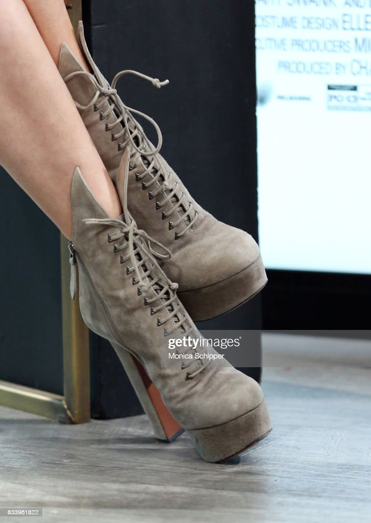 Actress and singer LeAnn Rimes, shoe detail, discusses her role in the film 'Logan Lucky' at Build Studio on August 17, 2017 in New York City.