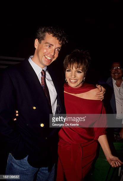 Actress and singer Liza Minnelli with singer songwriter and musician Neil Tennant of The Pet Shop Boys circa 1989
