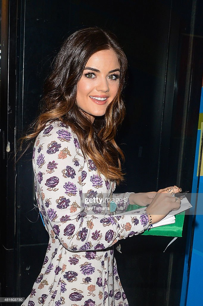 Actress and singer Lucy Hale enters the 'Good Morning America' taping at the ABC Times Square Studios on June 30, 2014 in New York City.