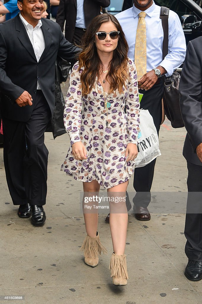 Actress and singer Lucy Hale leaves the 'Good Morning America' taping at the ABC Times Square Studios on June 30, 2014 in New York City.