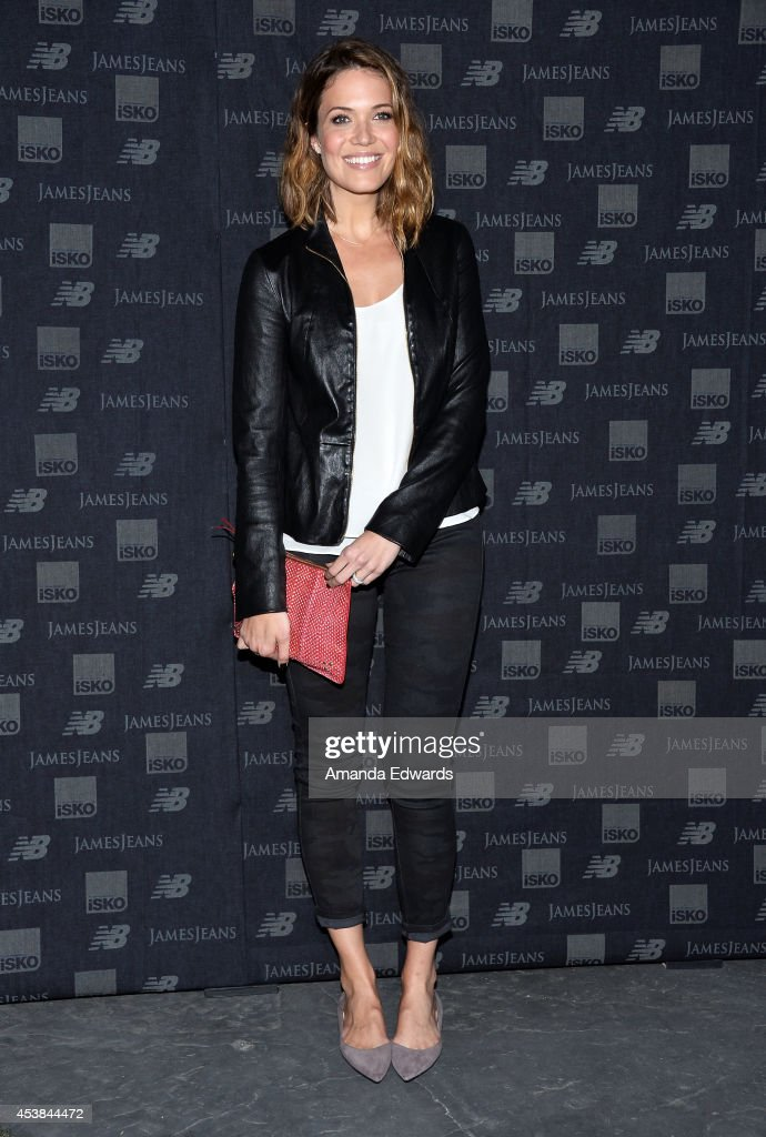 Actress and singer Mandy Moore arrives at a dance party with New Balance and James Jeans powered by ISKO at a private residence on August 19, 2014 in Beverly Hills, California.