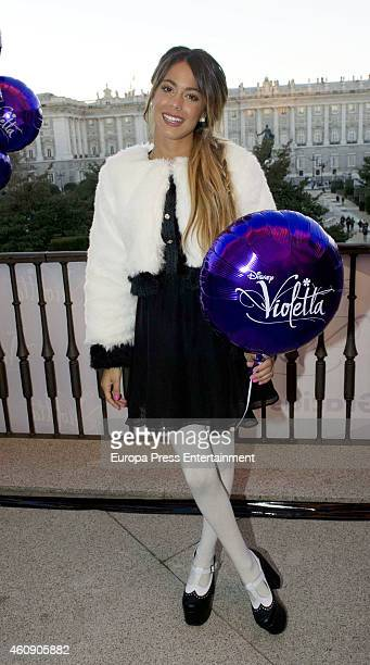 Actress and singer Martina Stoessel greets fans from 'Teatro Real' balcony on December 29 2014 in Madrid Spain