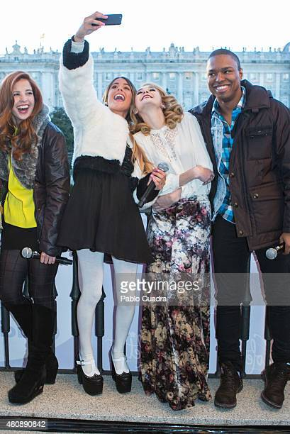 Actress and singer Martina Stoessel taking a selfie at 'Teatro Real' balcony on December 29 2014 in Madrid Spain