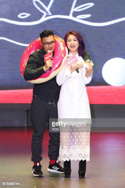 Actress and singer Miriam Yeung and actor Shawn Yue attend the premiere of director Pang Hocheung's film 'Love off the Cuff' on April 25 2017 in...