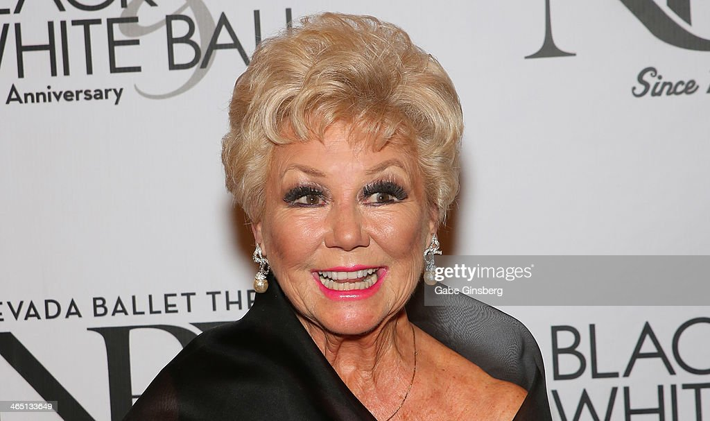 Actress and singer <a gi-track='captionPersonalityLinkClicked' href=/galleries/search?phrase=Mitzi+Gaynor&family=editorial&specificpeople=613480 ng-click='$event.stopPropagation()'>Mitzi Gaynor</a> arrives at Nevada Ballet Theatre presents 'The Black & White Ball's 30th Anniversary' at the Aria Resort & Casino at CityCenter on January 25, 2014 in Las Vegas, Nevada.