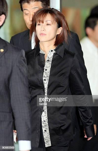 Actress and singer Noriko Sakai is bailed out from Tokyo Wangan Police Station on September 17 2009 in Tokyo Japan Sakai along with her husband...