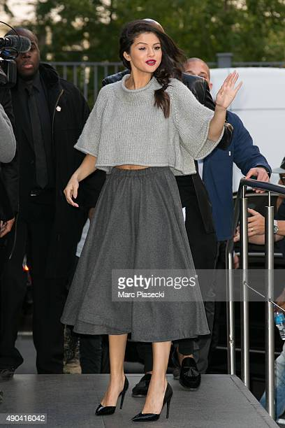 Actress and singer Selena Gomez arrives at 'NRJ' radio studios on September 28 2015 in Paris France