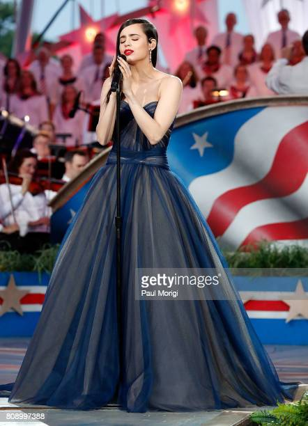 Actress and singer Sofia Carson performs at A Capitol Fourth at US Capitol West Lawn on July 4 2017 in Washington DC