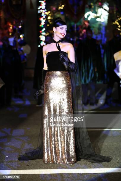 Actress and singer Sofia Carson performs during the 2017 Saks Fifth Avenue Holiday Window Unveiling And Light Show at Saks Fifth Avenue on November...