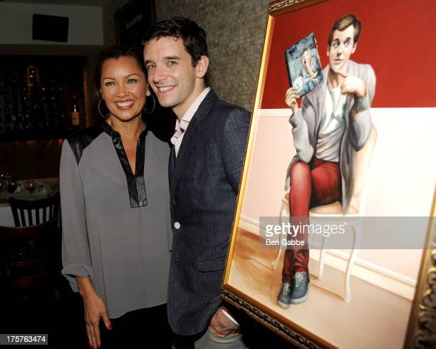 Actress and singer Vanessa Williams and actor Michael Urie attend Michael Urie's portrait unveiling and birthday party at Tony's di Napoli on August...