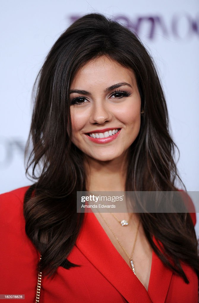 Actress and singer <a gi-track='captionPersonalityLinkClicked' href=/galleries/search?phrase=Victoria+Justice&family=editorial&specificpeople=569887 ng-click='$event.stopPropagation()'>Victoria Justice</a> arrives at the 11th Annual Teen Vogue Young Hollywood Party With Emporio Armani on September 27, 2013 in Los Angeles, California.