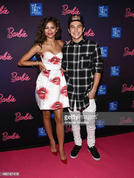 Actress and singer Zendaya and musician Austin Mahone attend the Barbie Rock 'N Royals Concert Experience at the Hollywood Palladium on September 26...