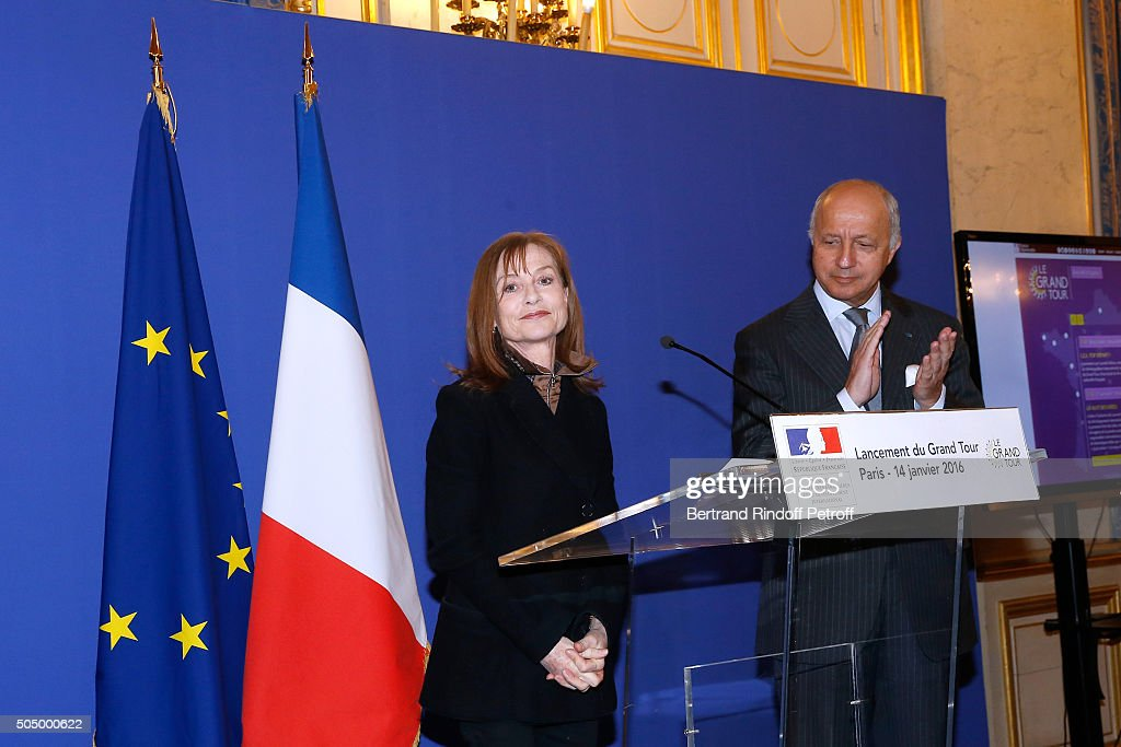 Actress and Sponsor of 'Le Grand Tour', <a gi-track='captionPersonalityLinkClicked' href=/galleries/search?phrase=Isabelle+Huppert&family=editorial&specificpeople=662796 ng-click='$event.stopPropagation()'>Isabelle Huppert</a> and French Minister of Foreign Affairs, <a gi-track='captionPersonalityLinkClicked' href=/galleries/search?phrase=Laurent+Fabius&family=editorial&specificpeople=540660 ng-click='$event.stopPropagation()'>Laurent Fabius</a> launch 'Le Grand Tour' at Quai d'Orsay on January 14, 2016 in Paris, France.