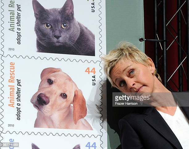 Actress and talk show host Ellen DeGeneres attends the Postal Service dedication of their new Animal Rescue Adopt A Shelter Pet Stamp on April 30...