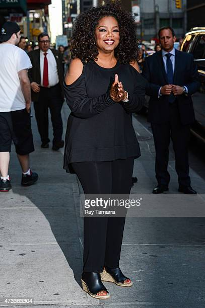 Actress and television personality Oprah Winfrey leaves the 'Late Show With David Letterman' taping at the Ed Sullivan Theater on May 14 2015 in New...