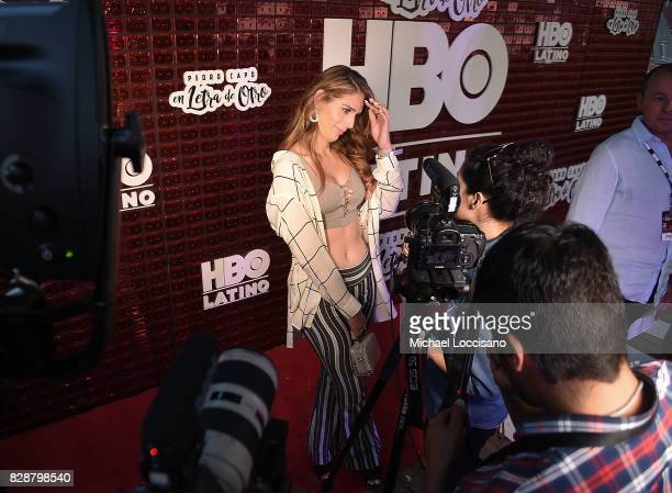Actress and TV personality Carmen Carrera is interviewed during HBO Latino x Pedro Capo En Letra de Otro at La Marina Restaurant Bar Beach Lounge on...