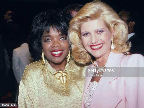 Actress and TV Star Oprah Winfrey and Ivana Trump at Tyson vs Spinks boxing match at Convention Hall in Atlantic City New Jersey June 27 1988