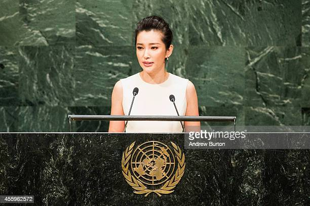 Actress and UN Environment Programme Goodwill Ambassador Li Bingbing speaks at the United Nations Climate Summit on September 23 2014 in New York...