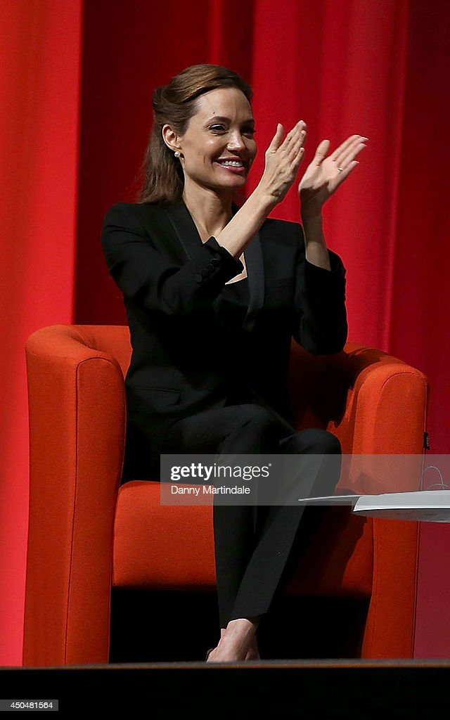 Actress and UN special envoy <a gi-track='captionPersonalityLinkClicked' href=/galleries/search?phrase=Angelina+Jolie&family=editorial&specificpeople=201591 ng-click='$event.stopPropagation()'>Angelina Jolie</a> attends the Global Summit to end Sexual Violence in Conflict at ExCel on June 12, 2014 in London, England.