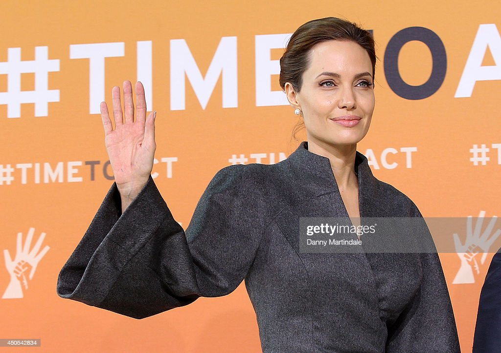 US actress and UN special envoy <a gi-track='captionPersonalityLinkClicked' href=/galleries/search?phrase=Angelina+Jolie&family=editorial&specificpeople=201591 ng-click='$event.stopPropagation()'>Angelina Jolie</a> attends the Global Summit to end Sexual Violence in Conflict at ExCel on June 13, 2014 in London, England.