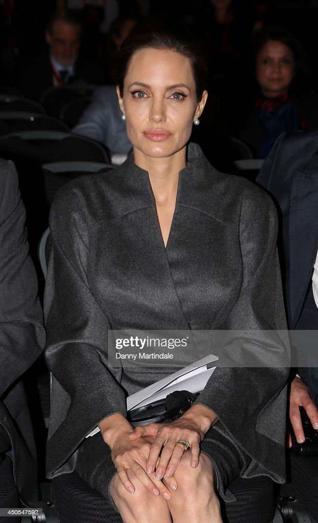 Actress and UN special envoy <a gi-track='captionPersonalityLinkClicked' href=/galleries/search?phrase=Angelina+Jolie&family=editorial&specificpeople=201591 ng-click='$event.stopPropagation()'>Angelina Jolie</a> attends the Global Summit to end Sexual Violence in Conflict at ExCel on June 13, 2014 in London, England.