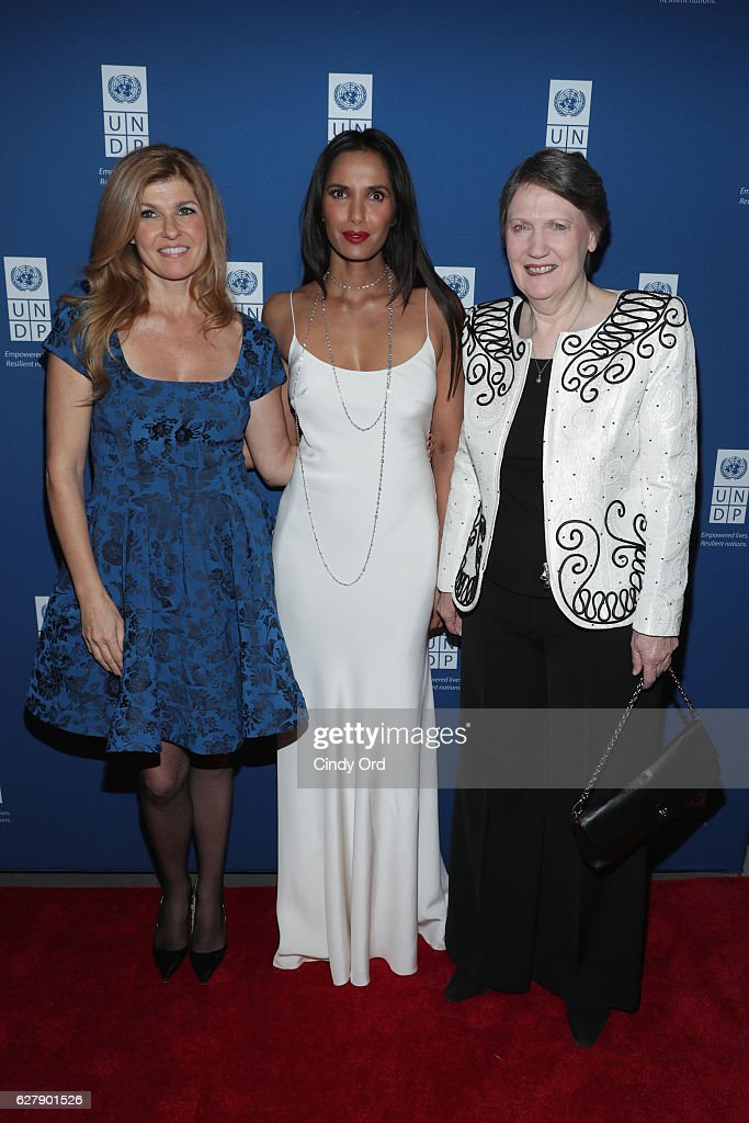 Actress and UNDP Goodwill Ambassador Connie Britton, Executive Producer, author, and host Padma Lakshmi, and Helen Clark, Administrator of the United Nations Development Programme attend the United Nations Development Programme (UNDP) Inaugural Global Goals Gala: A Night for Change at Phillips in Manhattan on December 5, 2016 in New York City. (Photo by Cindy Ord/Getty Images for United Nations Development Programme (UNDP))