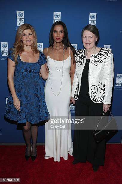 Actress and UNDP Goodwill Ambassador Connie Britton Executive Producer author and host Padma Lakshmi and Helen Clark Administrator of the United...
