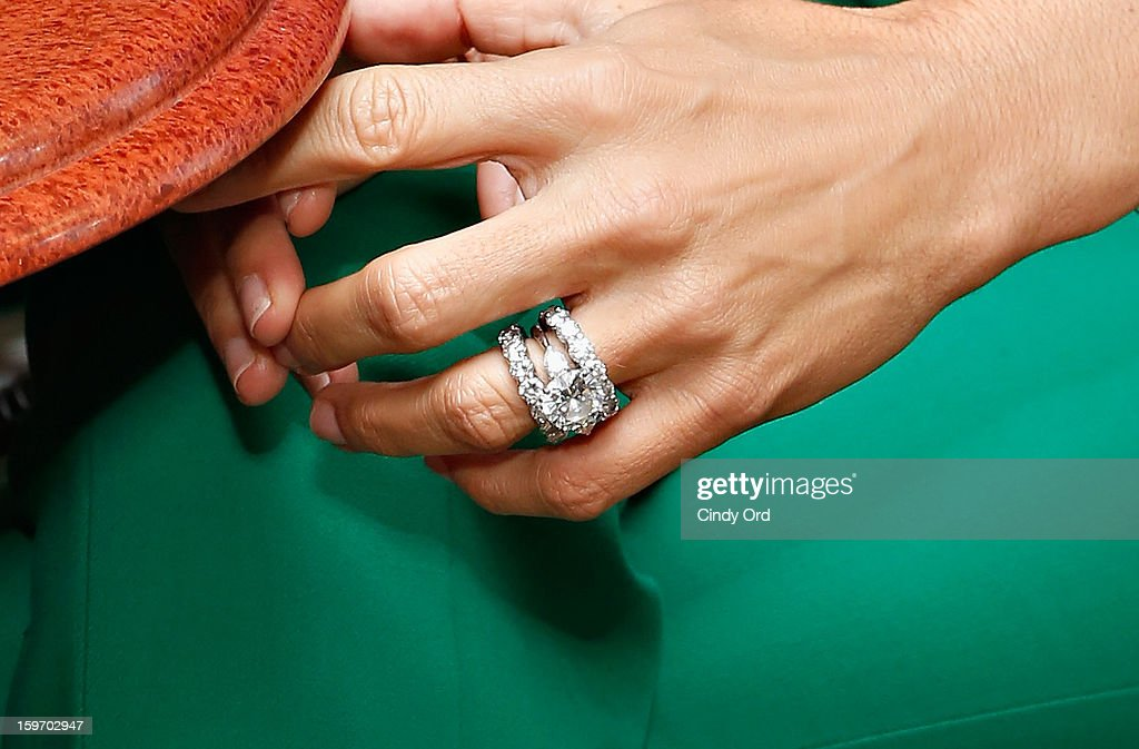 Actress and UNICEF ambassador Angie Harmon (engagement/ wedding ring detail) visits 'The Morning Jolt With Larry Flick' at the SiriusXM Studios on January 18, 2013 in New York City.