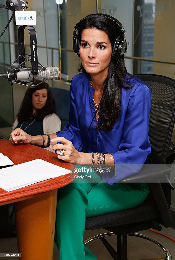 Actress and UNICEF ambassador Angie Harmon visits 'The Morning Jolt With Larry Flick' at the SiriusXM Studios on January 18, 2013 in New York City.