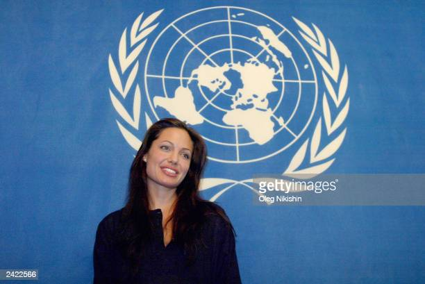 Actress and United Nations High Commissioner for Refugees goodwill Ambassador Angelina Jolie gives a press conference August 24 2003 in Moscow Russia...