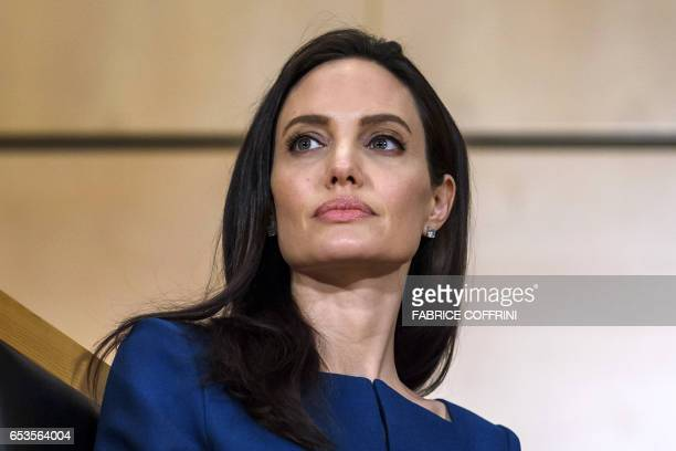 US actress and United Nations High Commissioner for Refugees special envoy Angelina Jolie attends the annual lecture of the Sergio Vieira de Mello...