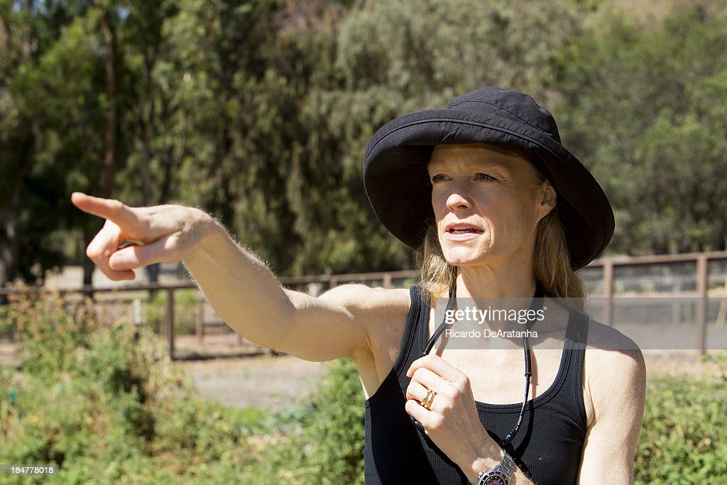 Actress and wife of James Cameron, Suzy Amis is photographed in their family garden at Hollister Ranch for Los Angeles Times on September 24, 2013 in Gaviota near Santa Barbara, California. PUBLISHED IMAGE.
