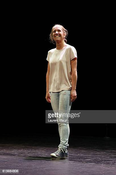 Actress and Writer Andrea Bescond attends 'Les Chatouilles ou La Danse de la Colere' Theater Play at Theatre du Chatelet on October 19 2016 in Paris...