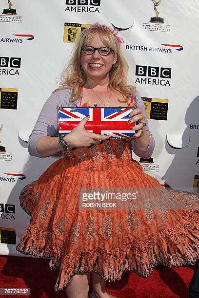 US actress and writer Kirsten Vangsness arrives for a preEmmy Awards tea party hosted by the British Academy of Film Television Arts/Los Angeles and...