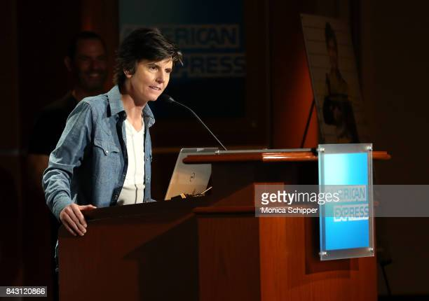 Actress and writer Tig Notaro speaks on stage at a screening for NewFest New York's LGBT Film Media Arts Organization for 'One Mississippi' Season 2...