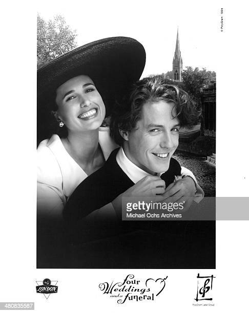 Actress Andie MacDowell and actor Hugh Grant pose for the movie 'Four Weddings and a Funeral ' circa 1994